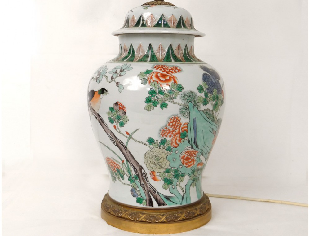 Divers Watch Chinese Porcelain Covered Jar Lamp Green Bronze Bird