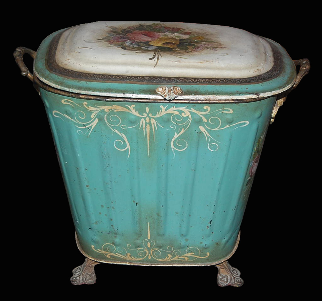 Vintage Kitchen Trash Can French Hand Painted Bin For Sale Antiques Classifieds
