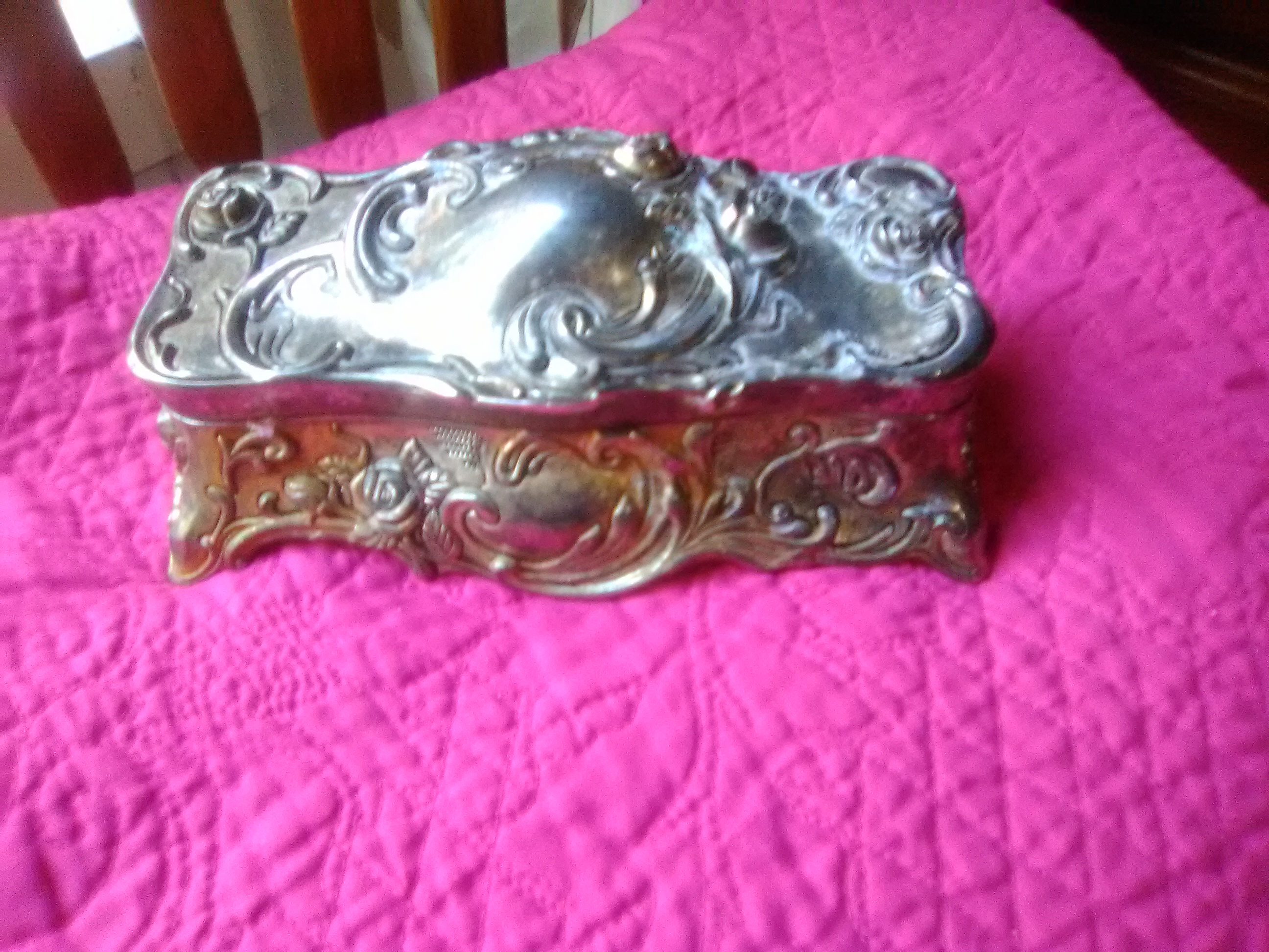 Art Deco Style Jewelry Boxes Sterling Silver Plated Art Deco Jewelry Box With Roses For Sale