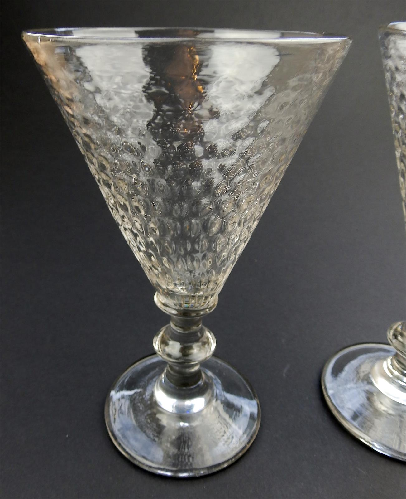 Crystal Stemware For Sale Antique Glass A Rare Pair Large Wine Glasses Honeycomb