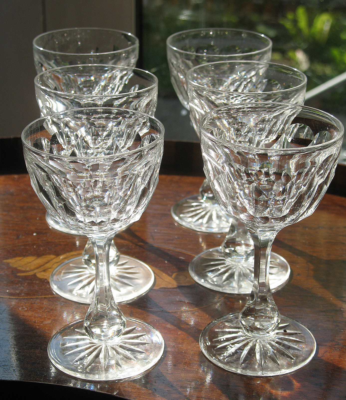 Crystal Stemware For Sale Cut Glass A Good Set Of 6 Cut Glass Madeira Small