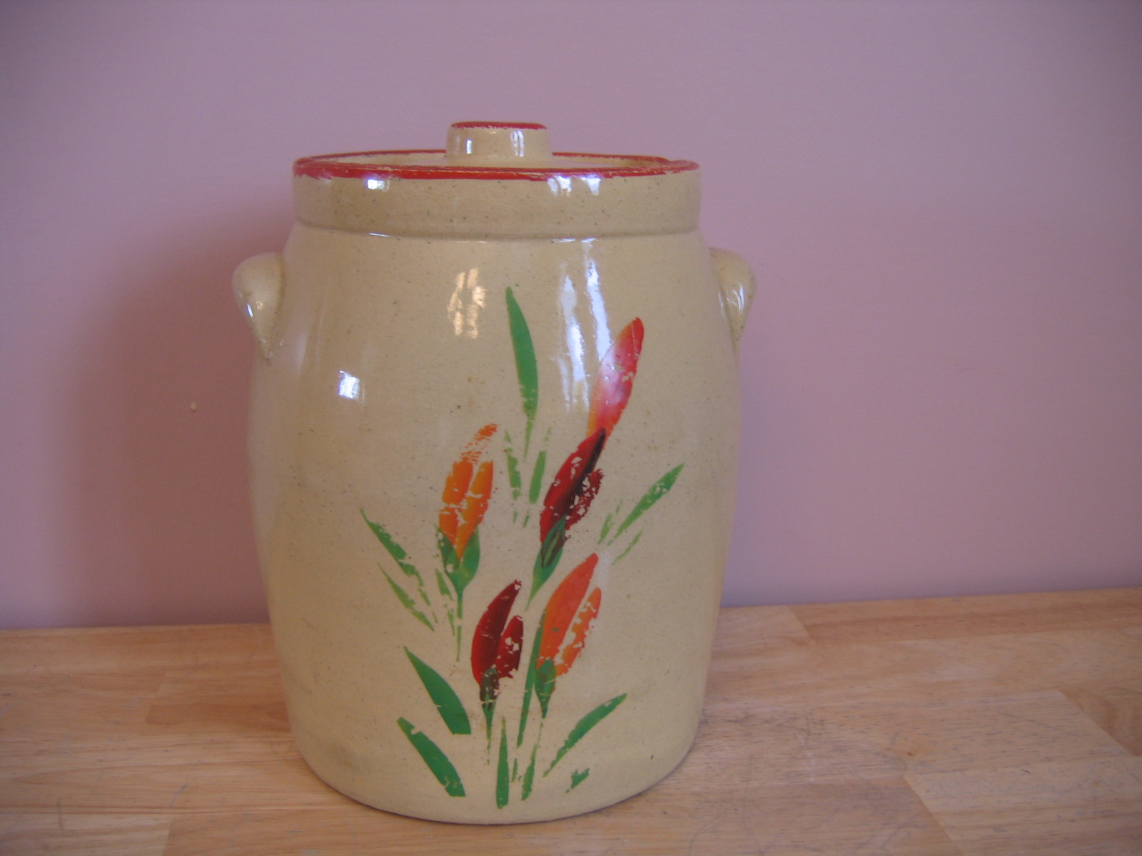 Nice Cookie Jars Vintage 1930 39s Redwing Stoneware Pottery Hand Painted