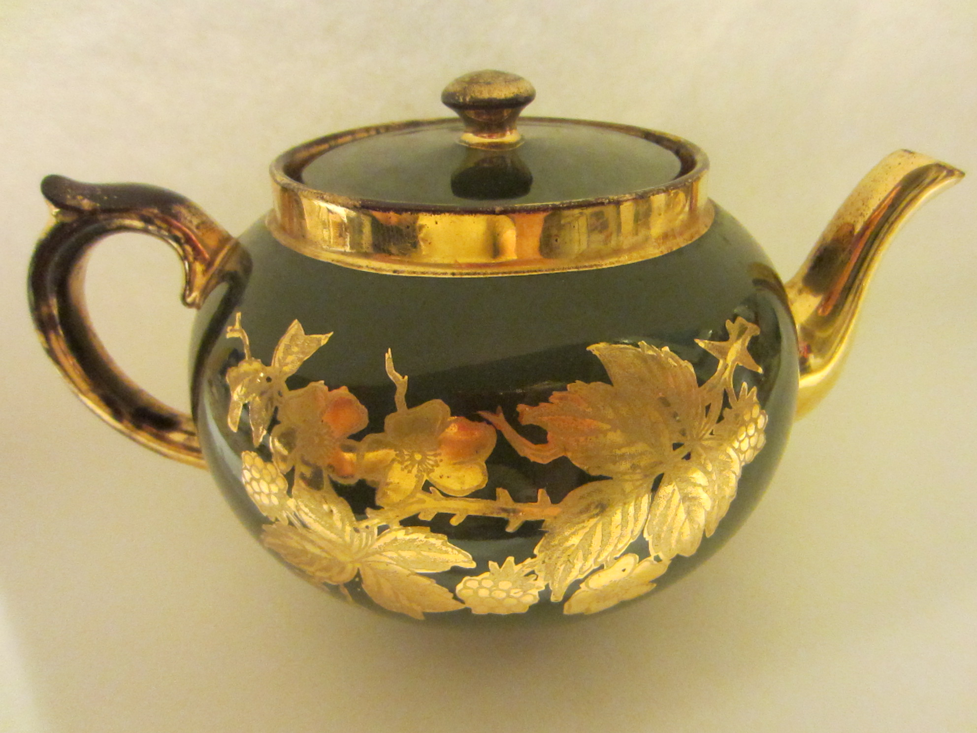 Making Tea In A Teapot Staffordshire England Teapot Gold Flowers Sage Green