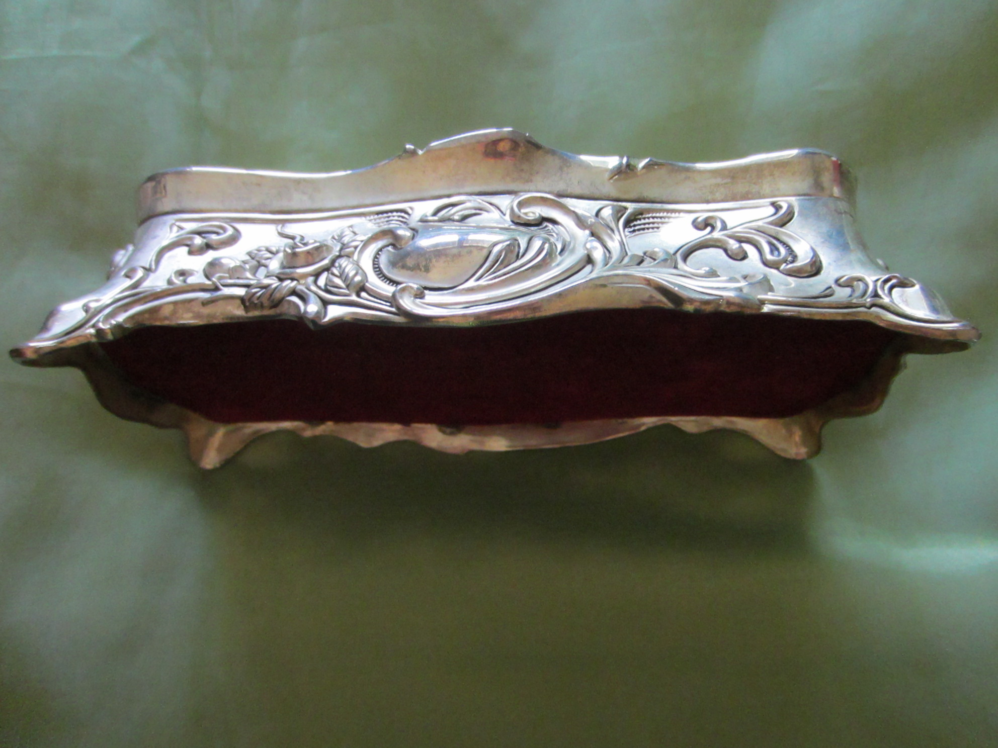 Art Deco Style Jewelry Boxes Silver Plated Art Deco Jewelry Box With Roses Sold For Sale