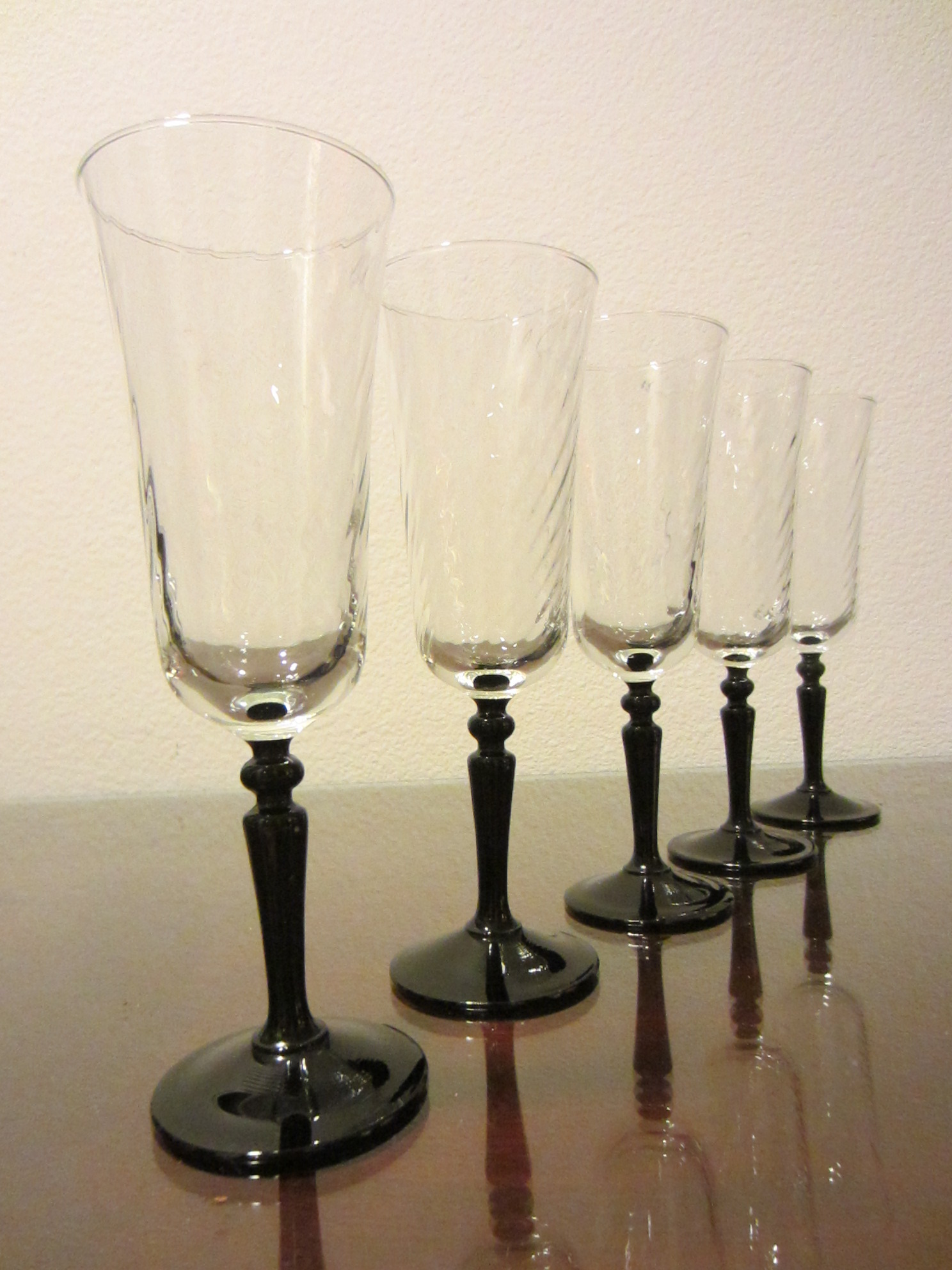 Wine Glasses With Black Stems France Ten Crystal Black Stem Textured Cordial Wine