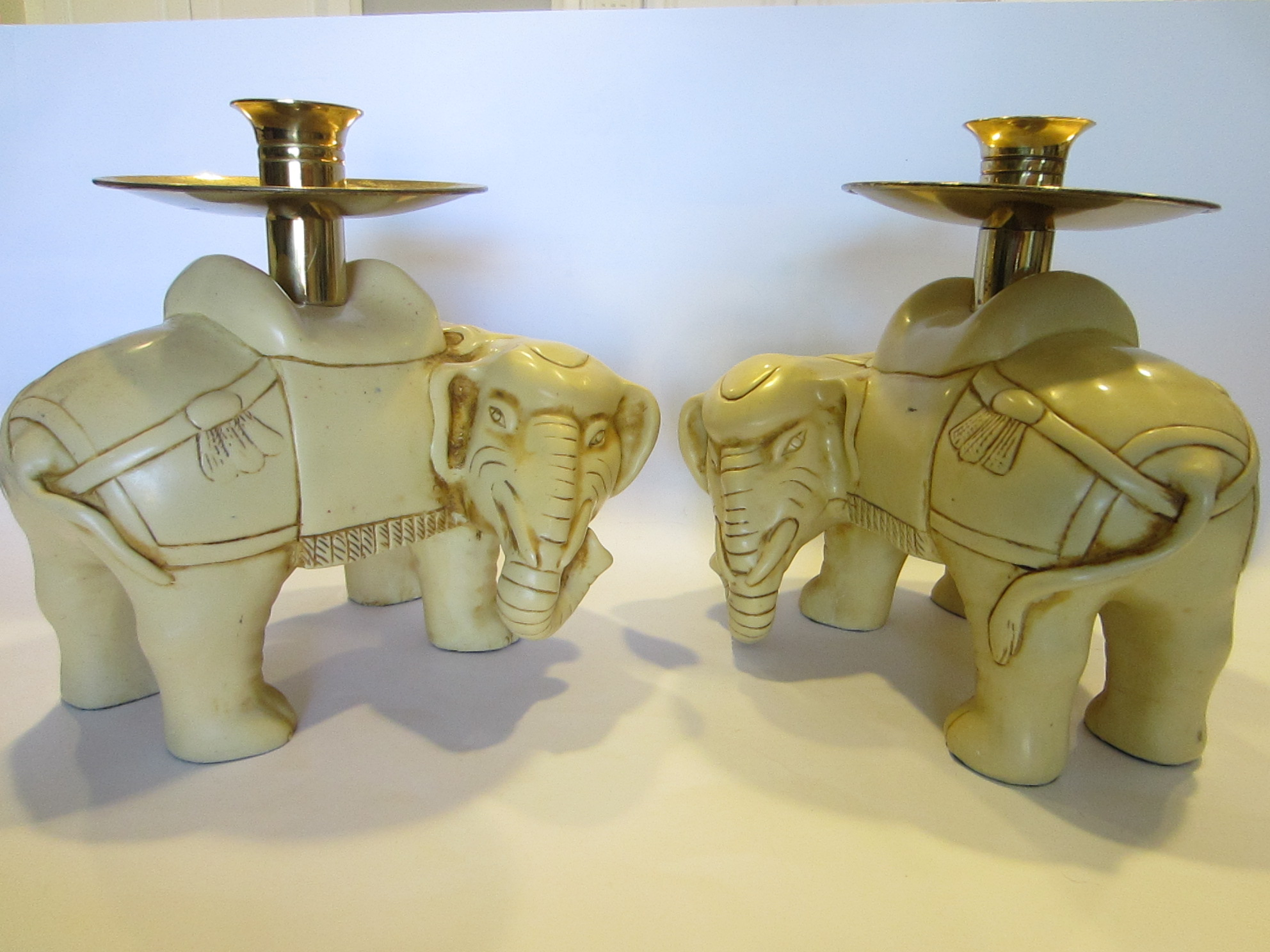 Decorative Candles For Sale Art Deco Elephants Bearing Brass Candle Holders For Sale