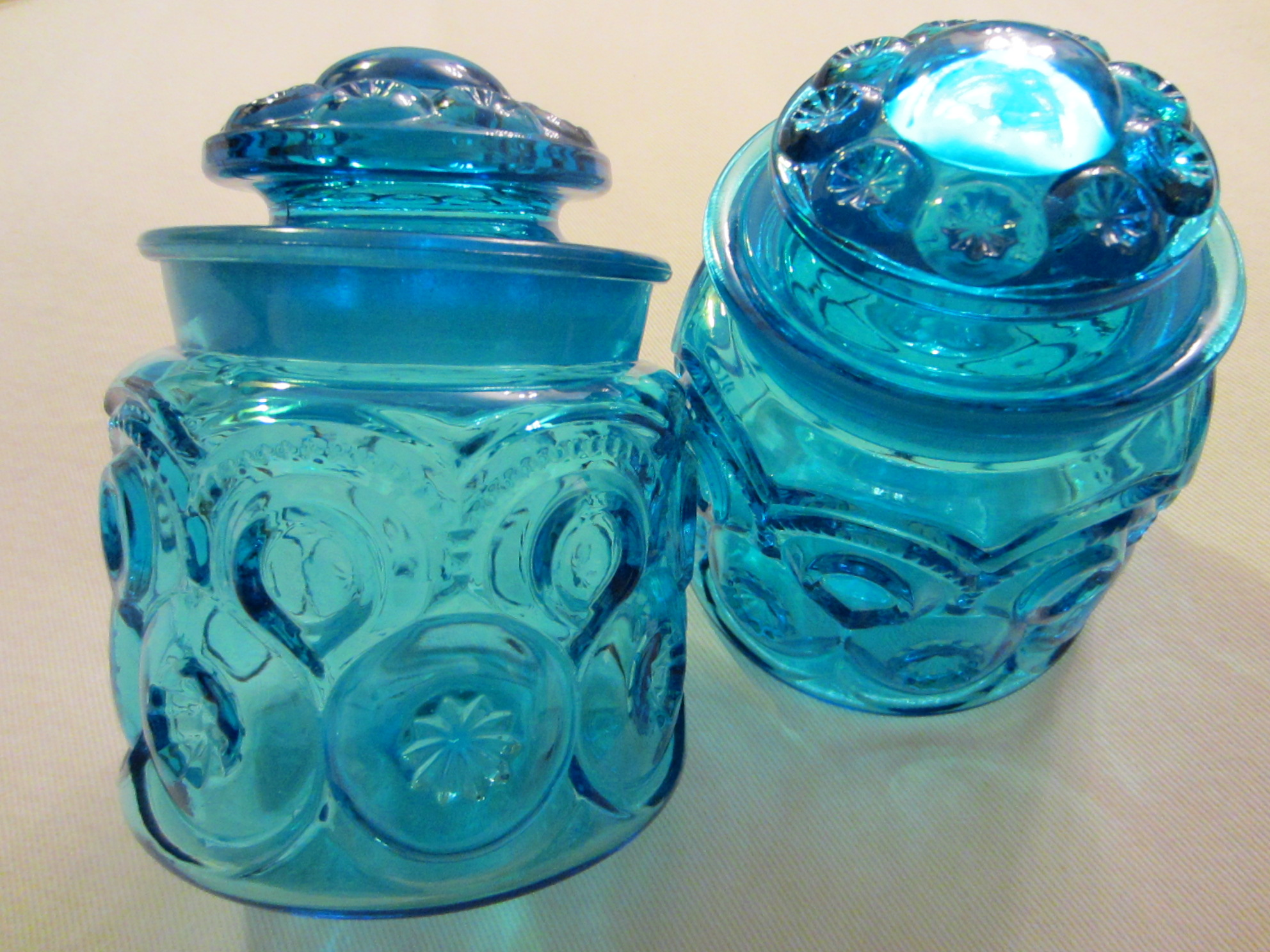Jars On Sale L E Smith Blue Glass Apothecary Lidded Jars Moon Stars For