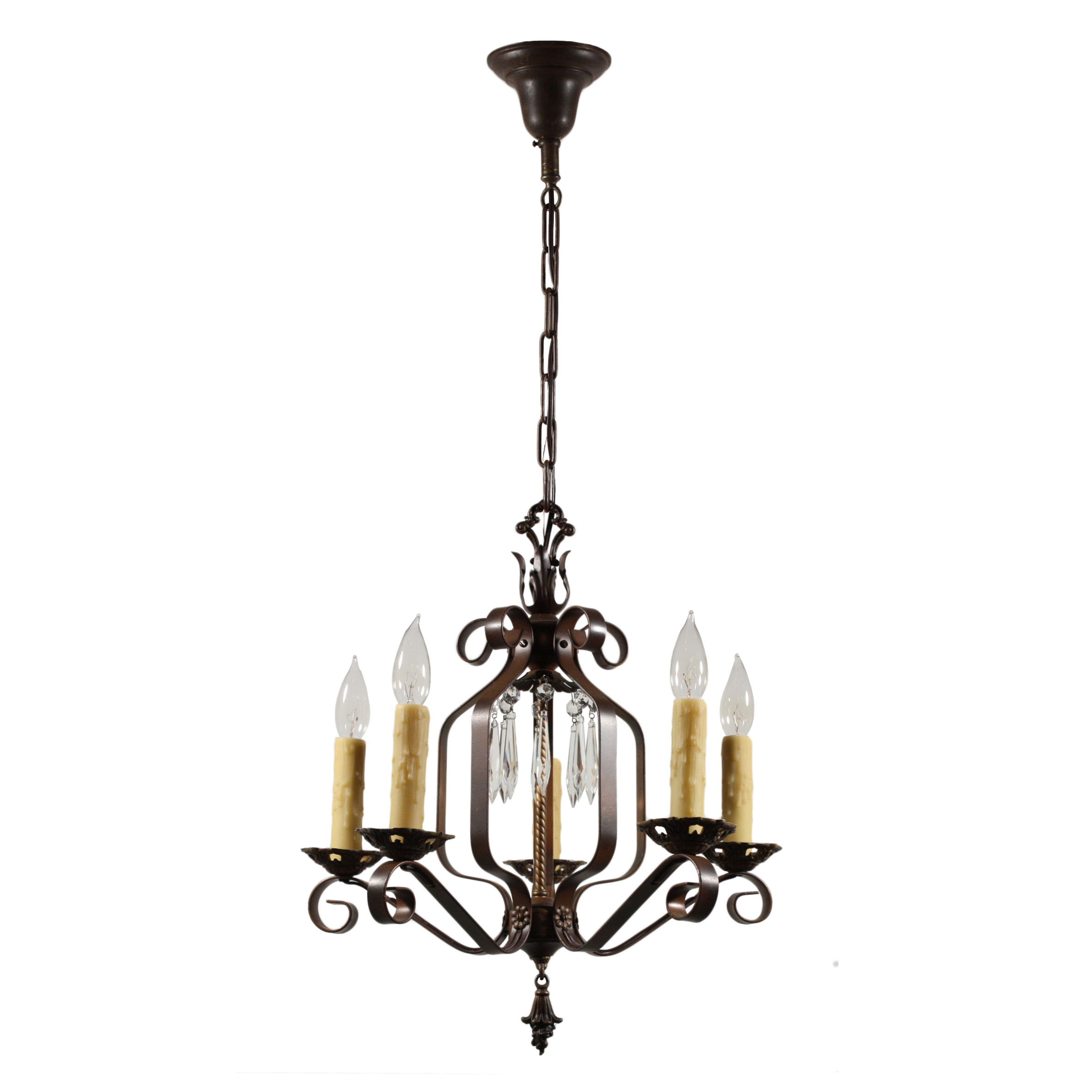 Wrought Iron Rectangular Chandelier Marvelous Antique Five Light Wrought Iron Chandelier With