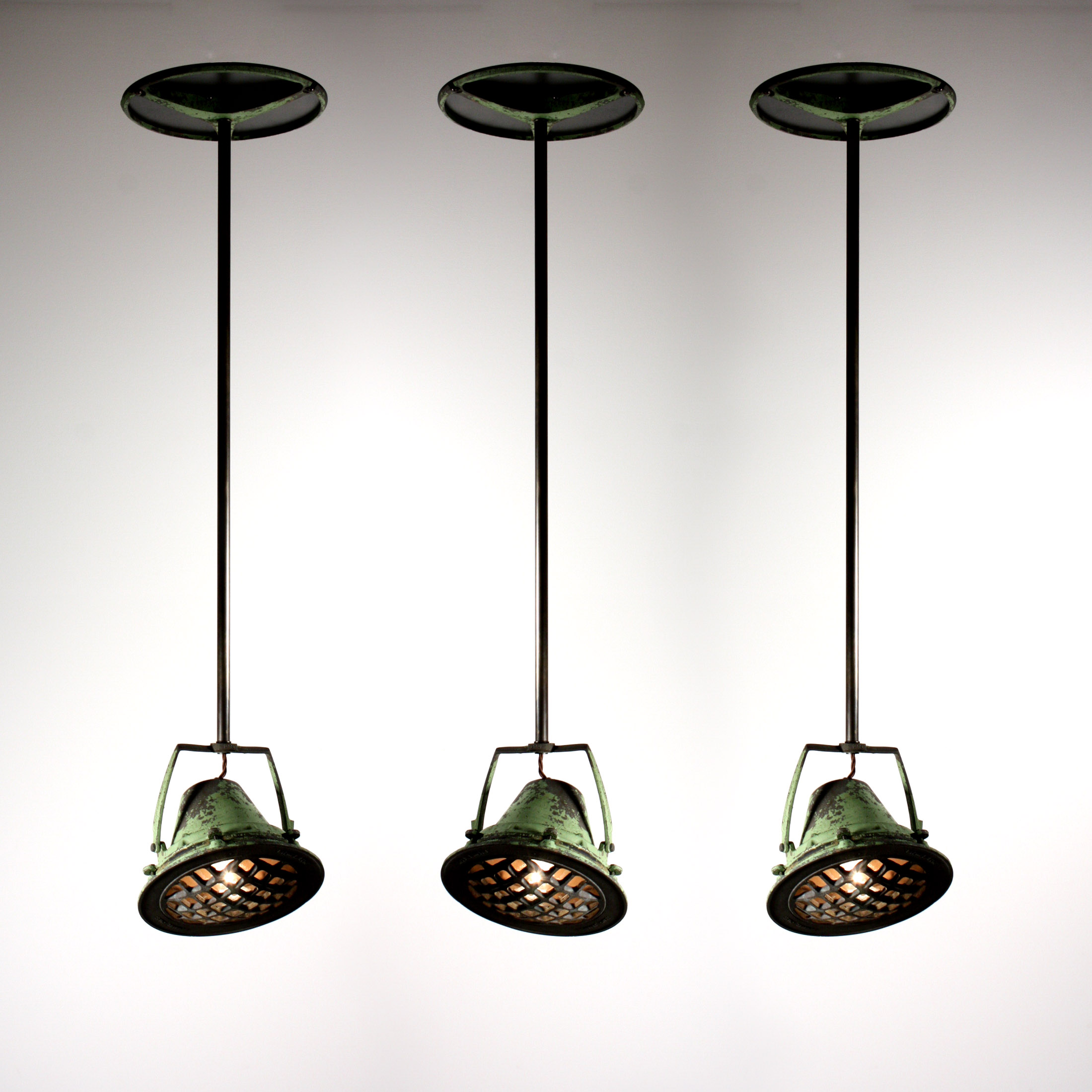 Industrial Vintage Lighting Three Matching Antique Industrial Pendant Lights From
