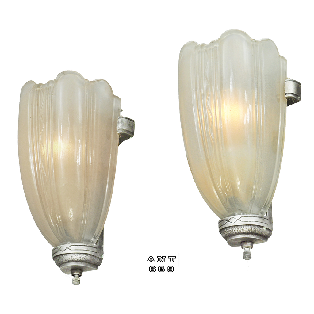 Images Of Wall Sconces Art Deco Streamline Wall Sconces 30s Slip Shade Lights