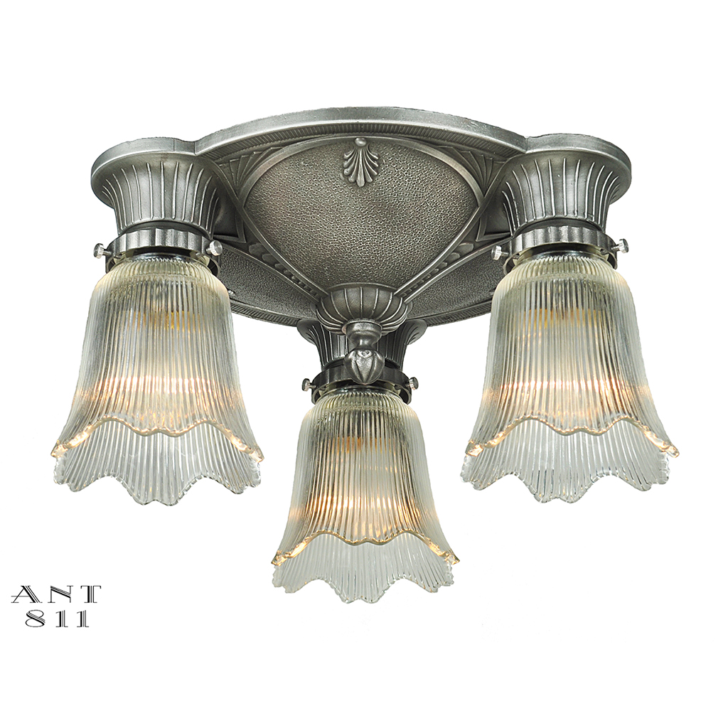 Antique Pull Chain Ceiling Light Fixture Art Deco Close Ceiling Fixture Flush Mount Antique 3 Light