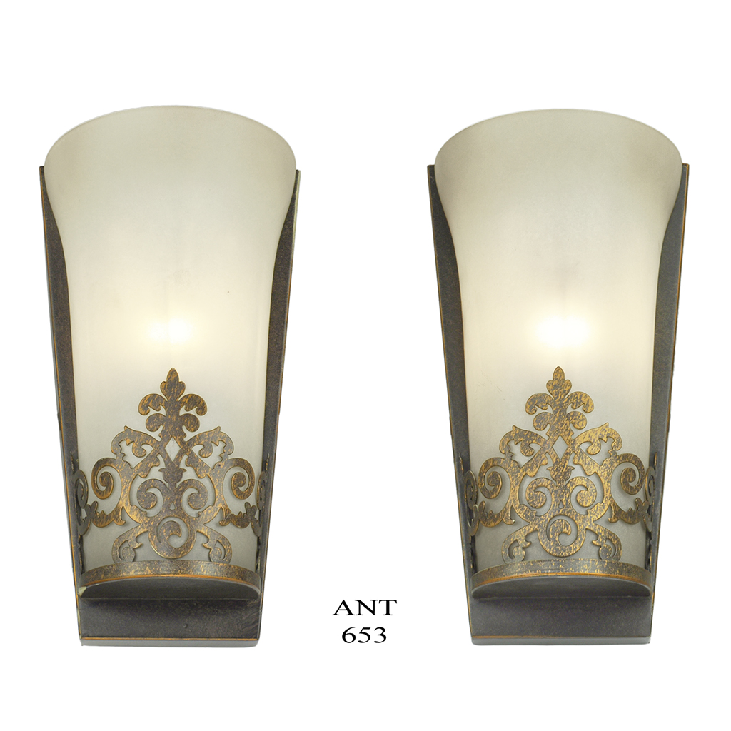 Eclectic Wall Sconces Edwardian Style Wall Sconces Half Cylinder Shape Frosted