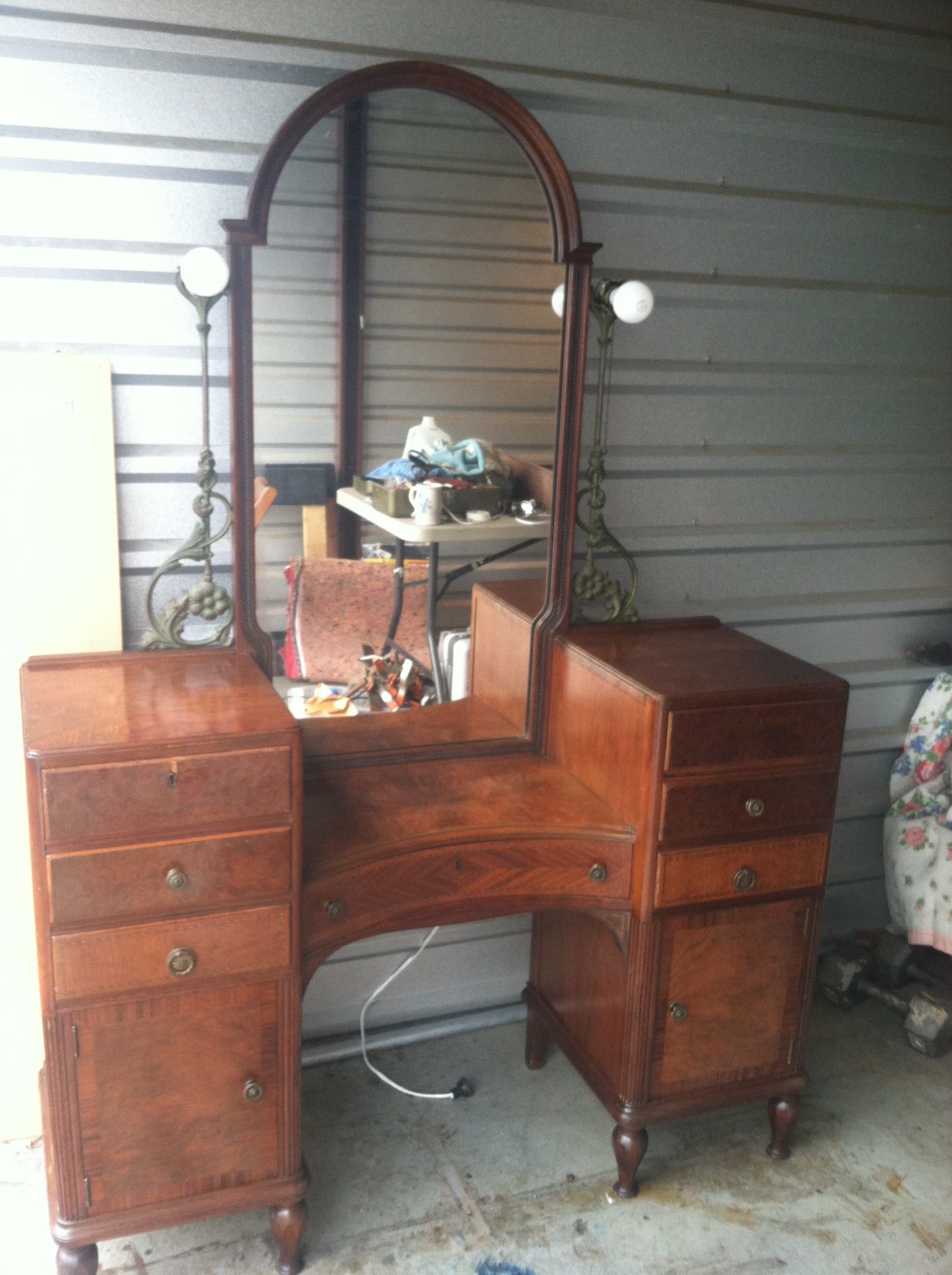 Unique Makeup Vanity Vintage Art Deco Vanity Secretary 1920s For Sale
