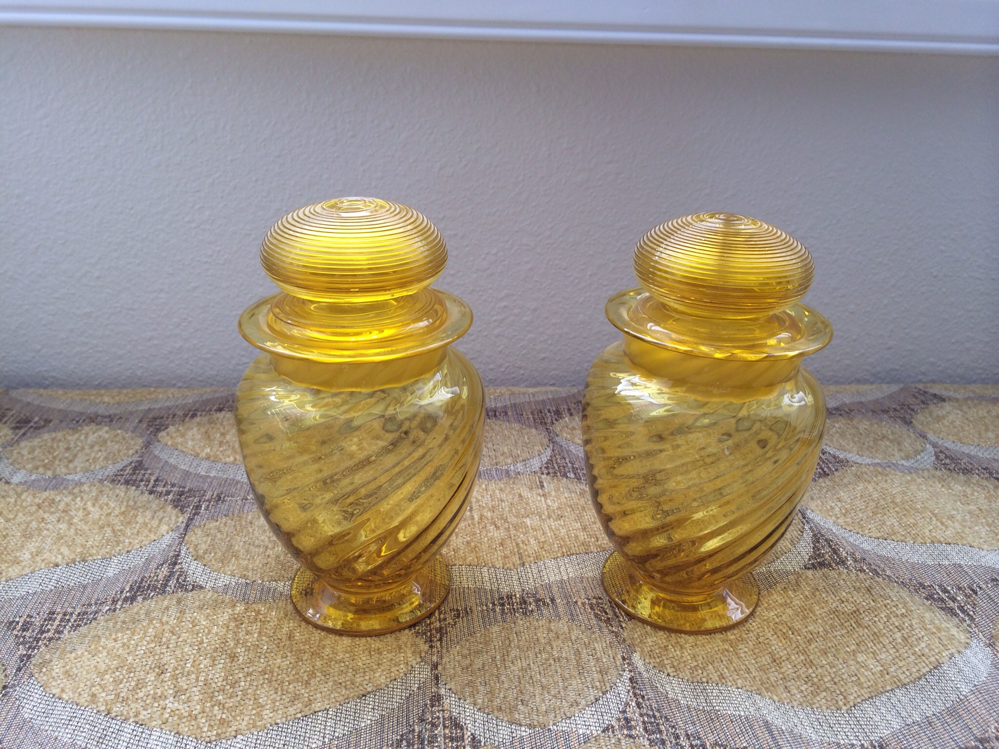 Jars On Sale Steuben Bristol Yellow Art Glass Jars For Sale Antiques