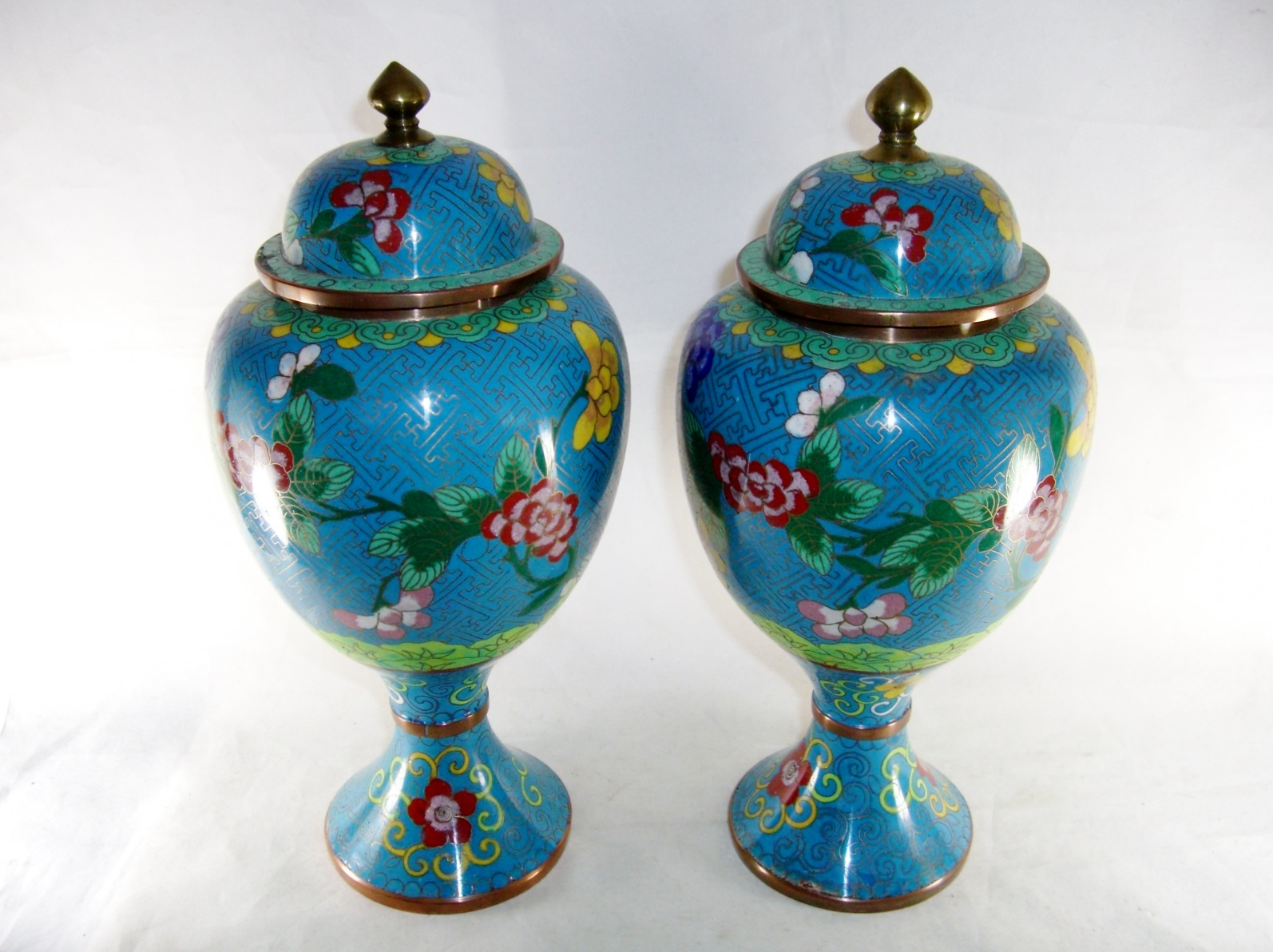 Flower Urns For Sale Pair Chinese Cloisonne Covered Vases Flowers Antique For