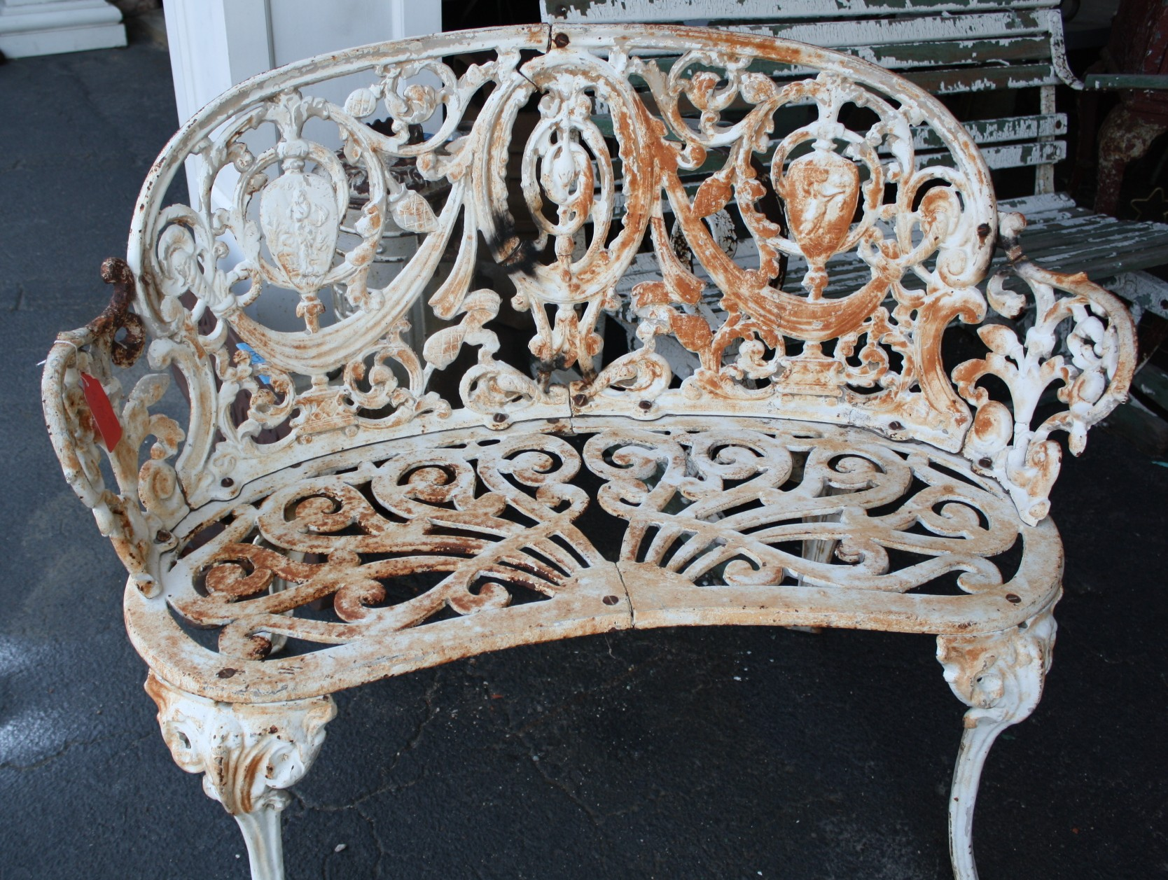 Wrought Iron 3 Piece Outdoor Setting Super Ornate Cast Iron Garden Set For Sale Antiques