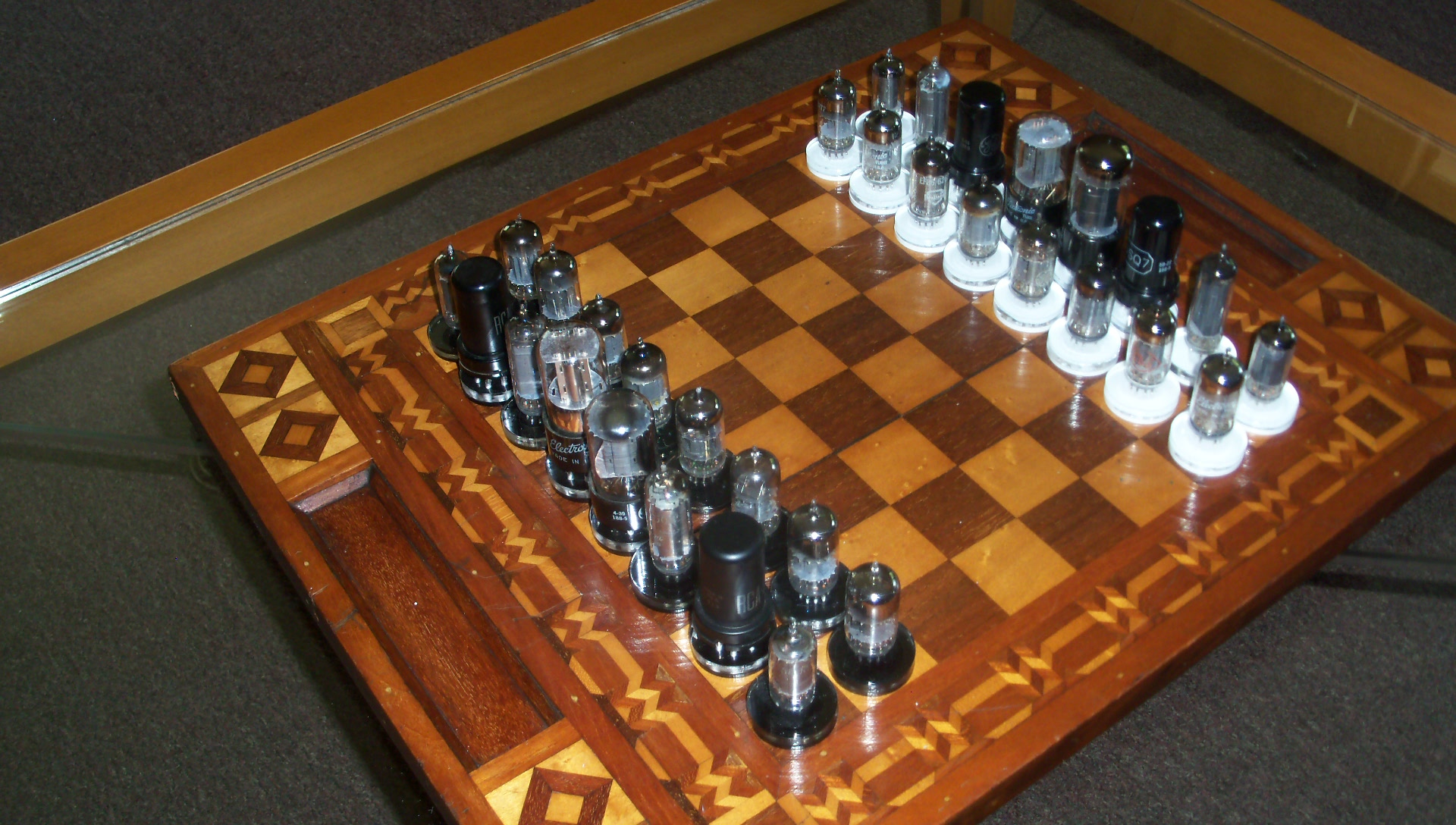 Chess Board Sale Handmade Folk Art Chess Set 1940 39s Vaccum Tubes And Antique