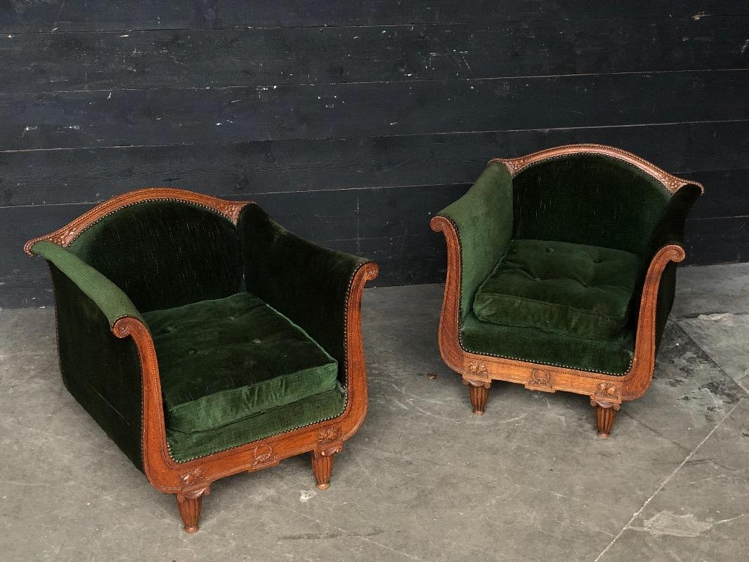 Pair Art Deco Armchairs Fauteuils European Antique Warehouse