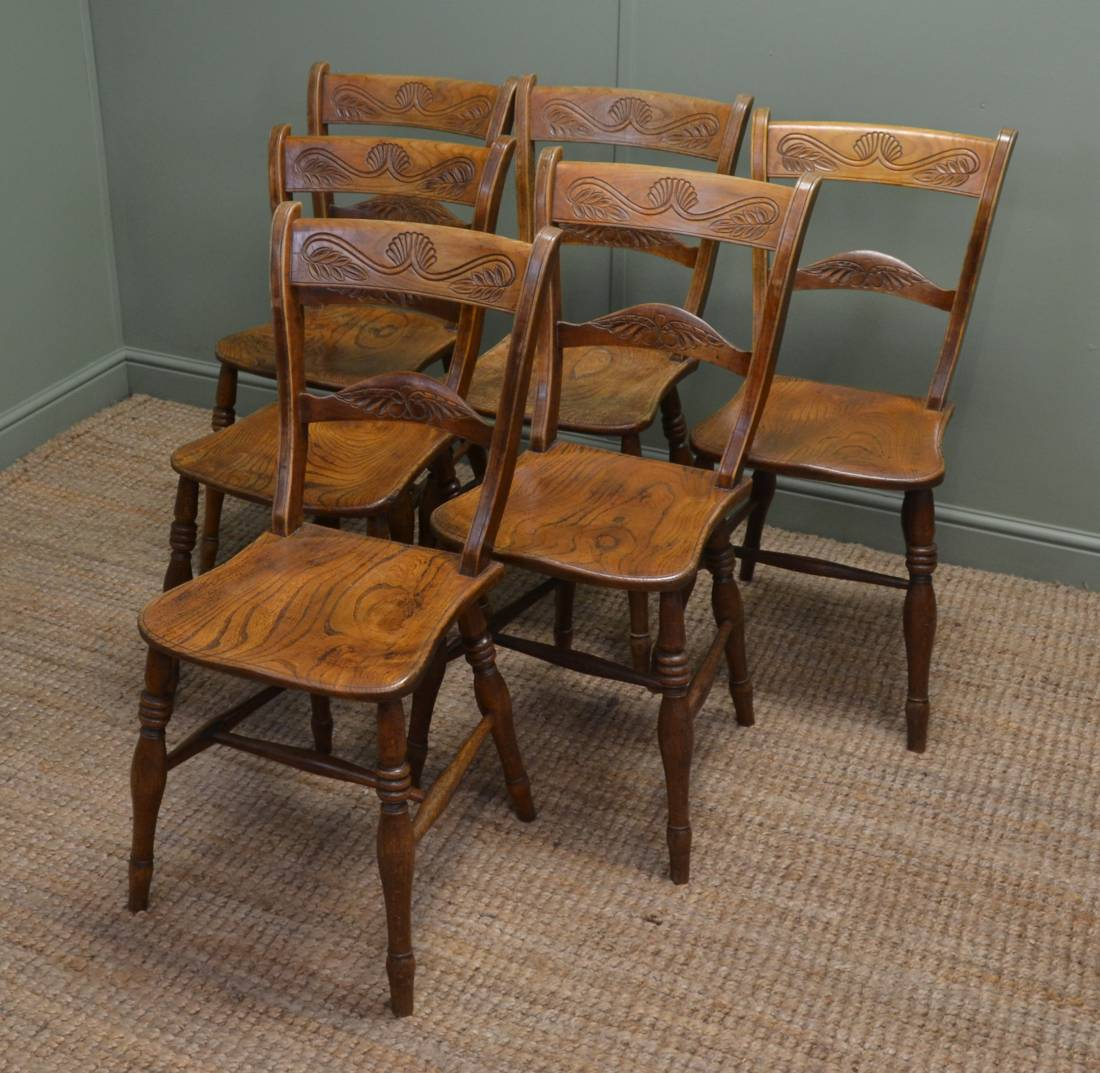 Set of Six Victorian Elm Antique Country Kitchen Chairs