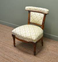 Quality Victorian Walnut Small Upholstered Antique Chair