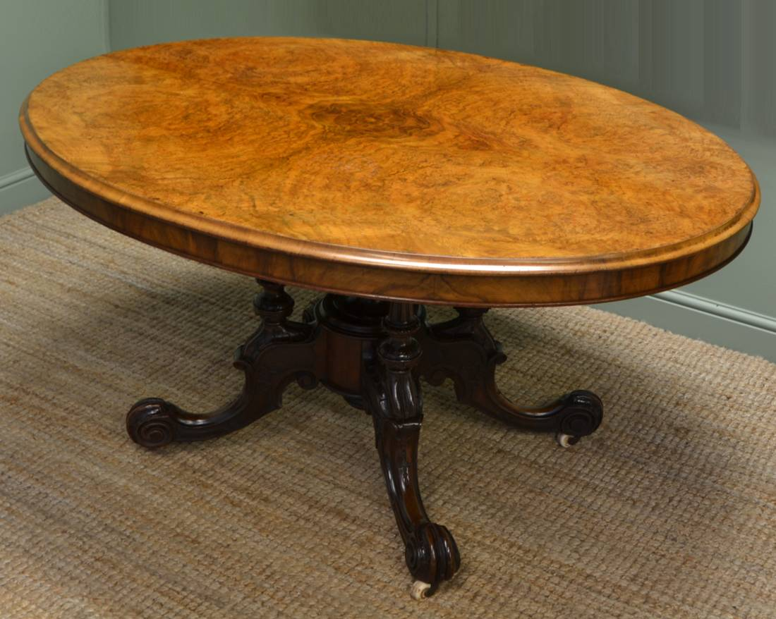 Victorian Burr Walnut Oval Antique Dining Table