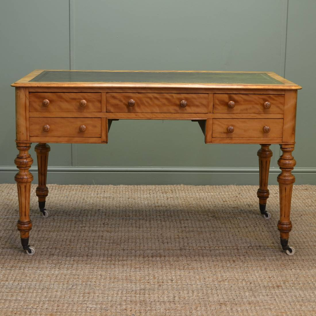 Unusual Desk Stunning Quality Unusual Satin Birch Antique Desk Writing Table