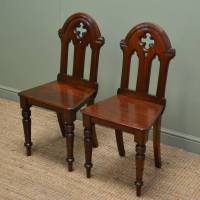 Pair of Antique Victorian Walnut Gothic Hall Chairs ...
