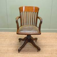Quality Edwardian Oak Antique Swivel Office Chair ...