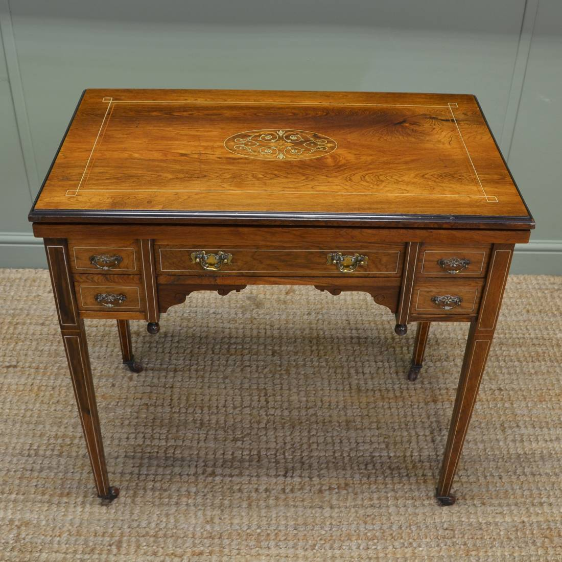 Unusual Desk Unusual Inlaid Rosewood Antique Victorian Writing Desk Games