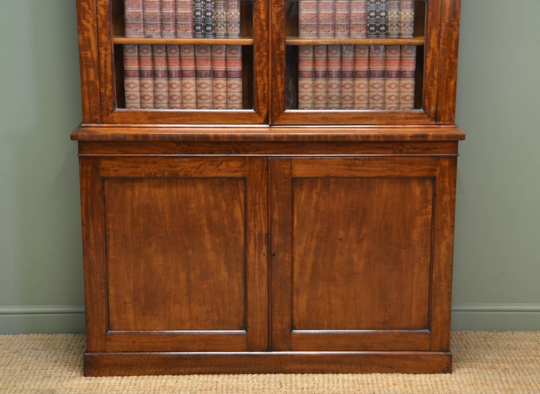 Quality Mahogany Victorian Slim Glazed Antique Bookcase On