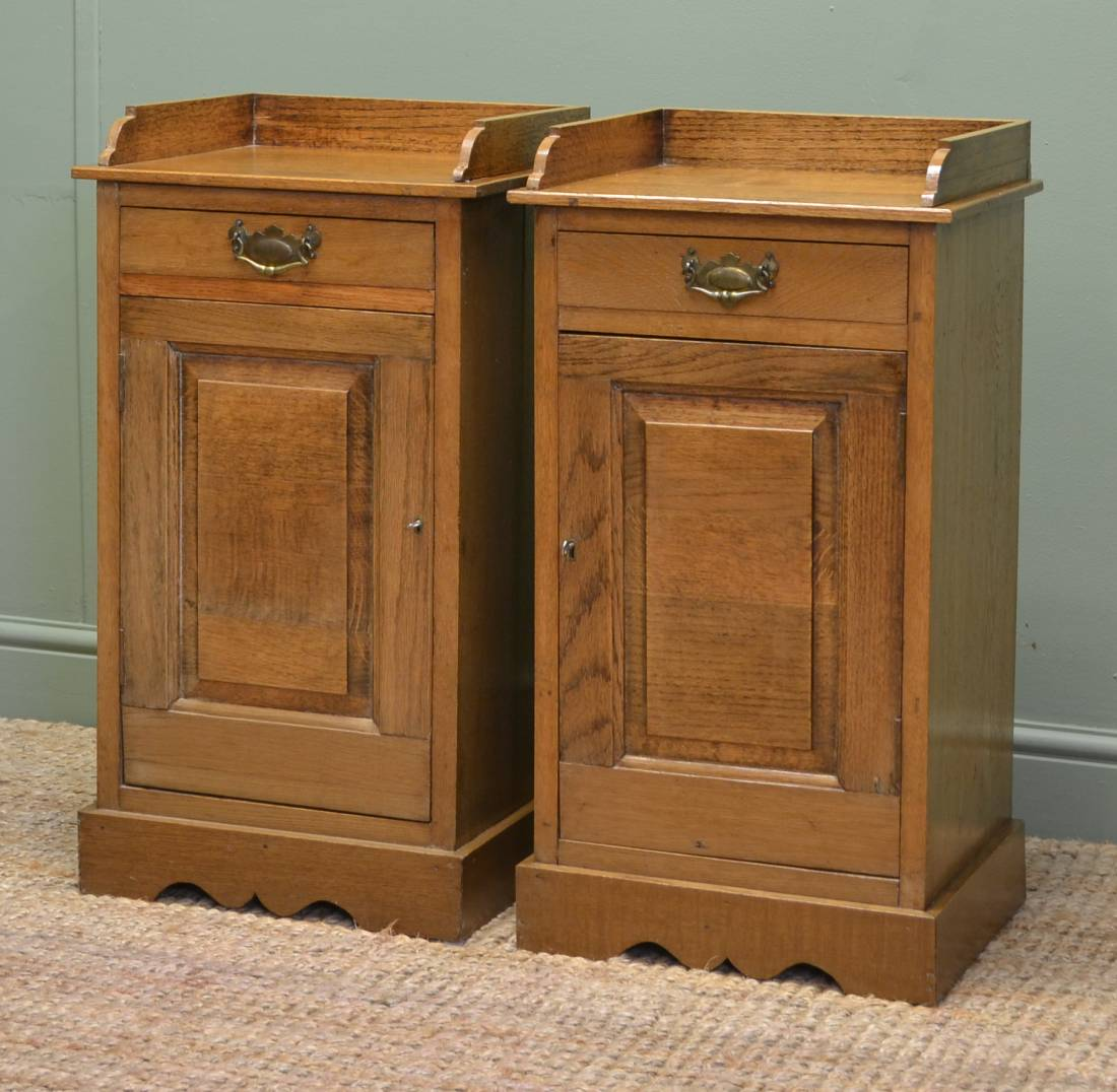 Antique Bedside Tables Pair Of Antique Edwardian Oak Bedside Tables Antiques World