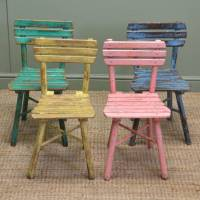 Cute Set of Four Vintage Painted Country Antique Children ...