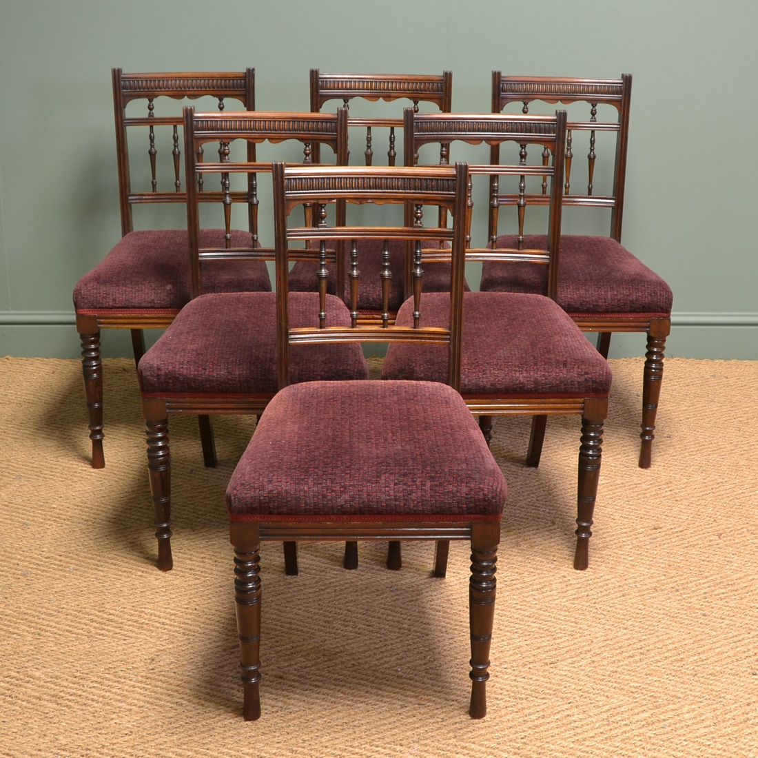 Hamptons Style Dining Chairs Quality Set Of Six Victorian Walnut Antique Dining Chairs