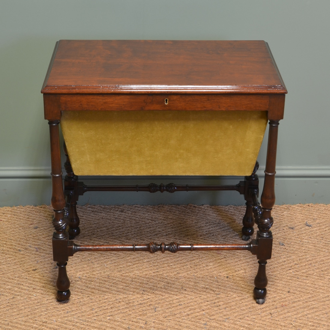Box End Table Small Edwardian Mahogany Antique Work Box Side Table