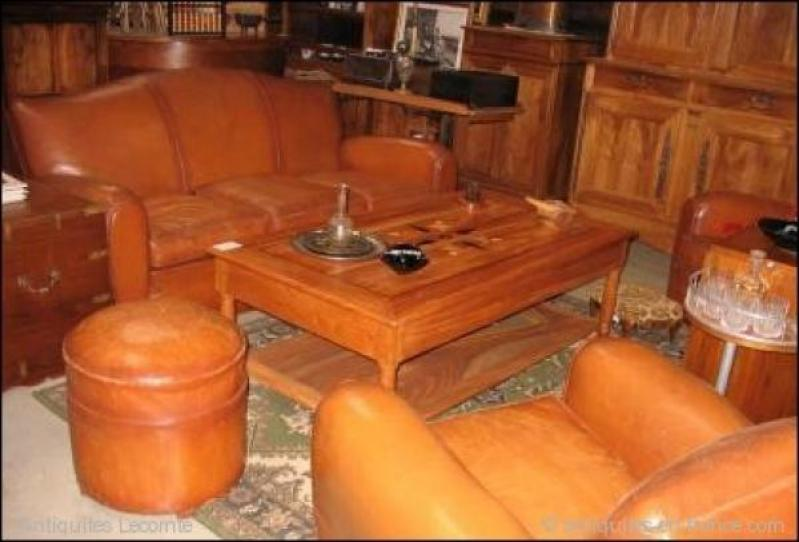 Salon Club En Cuir Xxeme Antiquites Lecomte