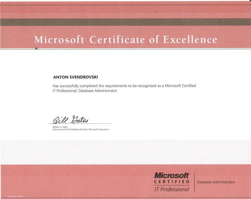 Sql Server Database Administration Training Microsoft Exam Vouchers - microsoft certificate of excellence