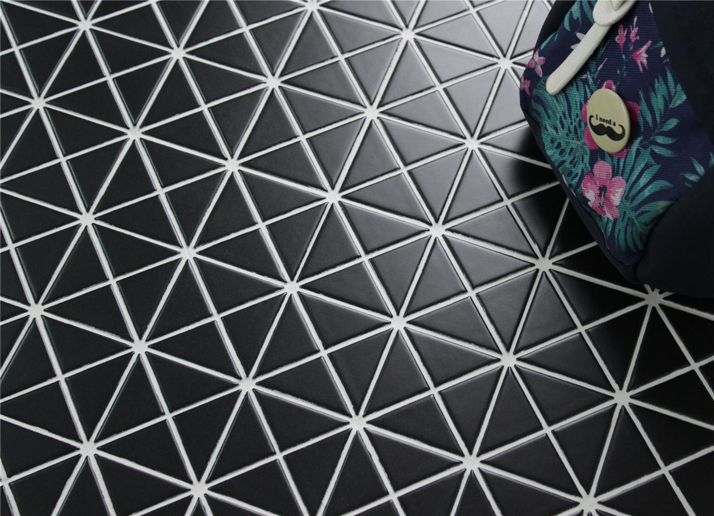 23939 Pure Black Matte Porcelain Triangle Mosaic Floor Tile
