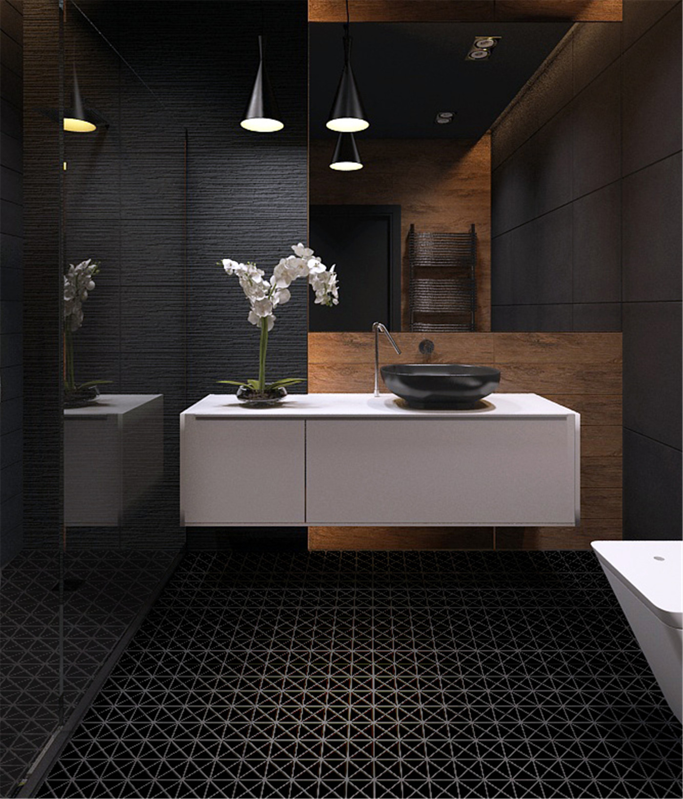 Black Tiled Bathroom 2 39 39 Pure Black Matte Porcelain Triangle Mosaic Floor Tile