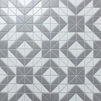 2'' Matte Triangle Gray White Triangle Tile, Porcelain ...