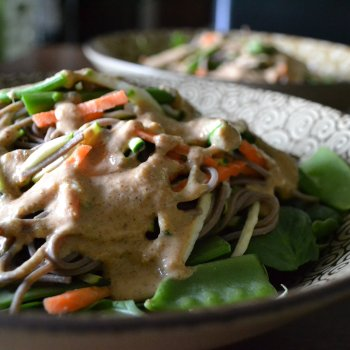 Buckwheat Soba Noodles with Spicy Almond Sauce An Unrefined Vegan