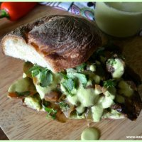 Mexican-Spiced Roasted Vegetable Sandwich with Green Chile-Chipotle-Cilantro Dressing