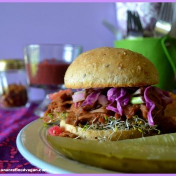 BBQ Pulled Jackfruit Sandwich with Slaw An Unrefined Vegan