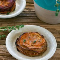 Virtual Vegan Potluck! Maple & Thyme Potato-Beet-Sweet Potato Stacks (a.k.a. Pomme Annie's)