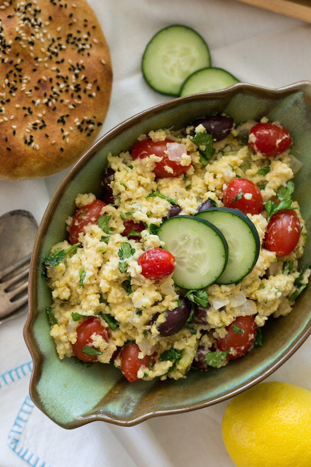 Warm Millet Salad. Gluten-free, No Added Oil.