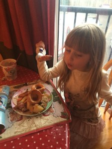 Evie enjoying her lunch