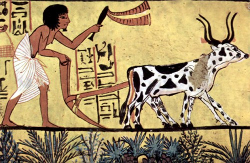 Image: Scene from a mural in the tomb of Sennedjem, Egypt.