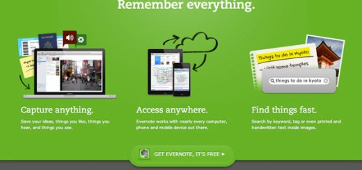 Evernote's welcome page