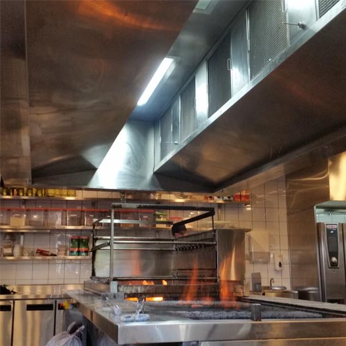A sideview of AOM Air and Odor Management Kitchen Hood