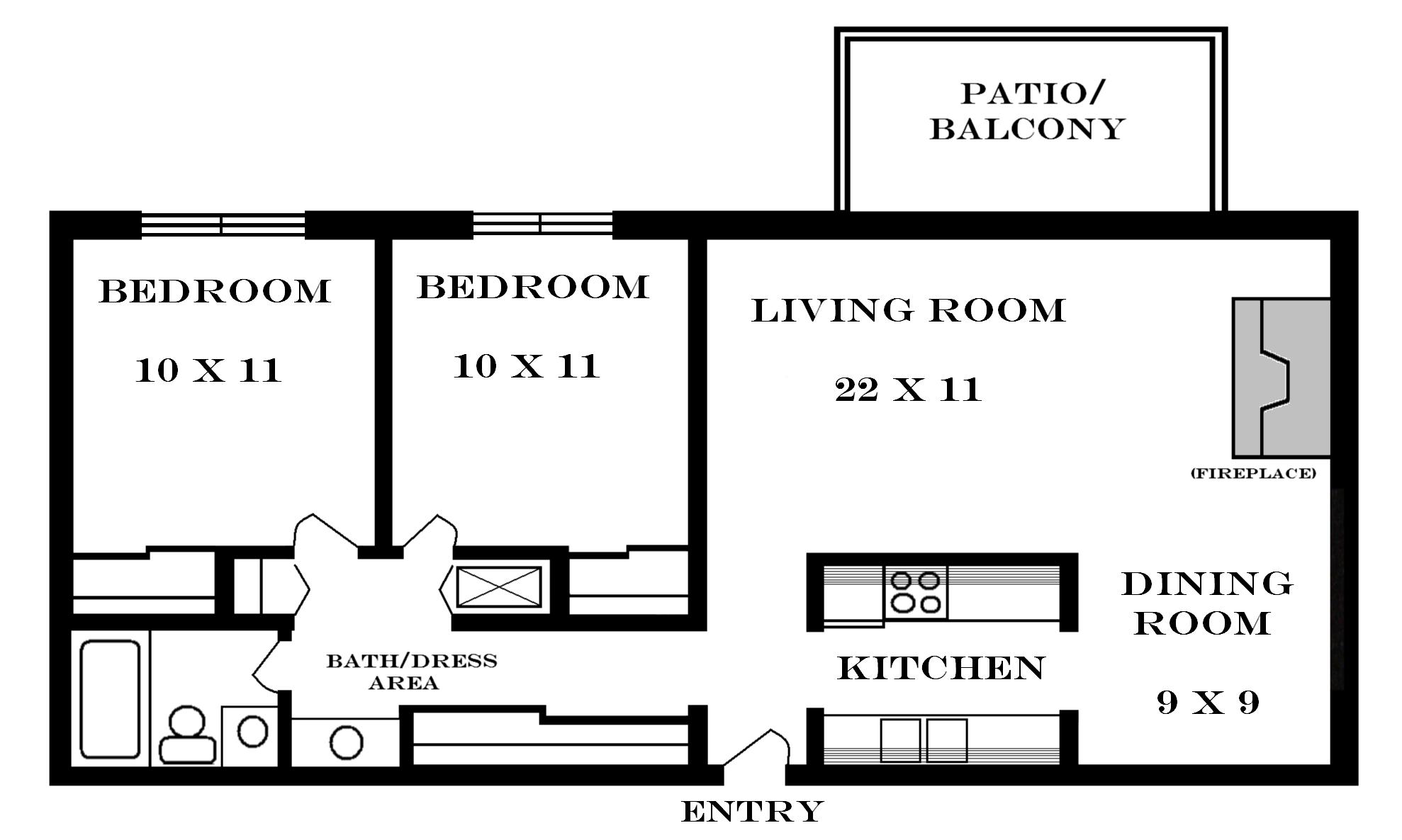 2 Bedroom Apartment Plans Lawrence Apartments Meadowbrook 2601 Dover Square