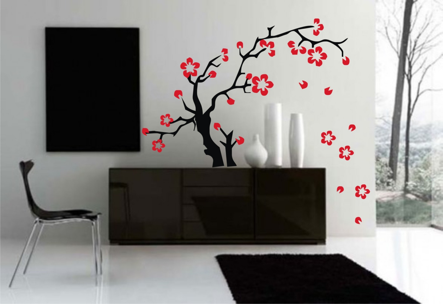 simple solve blank wall dilemma sakura flowers wall wall sticker decor beautiful wall sticker decoration